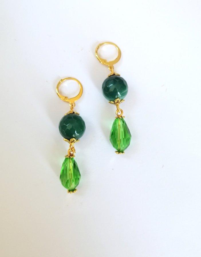 Zaļā ahāta auskari/ garie