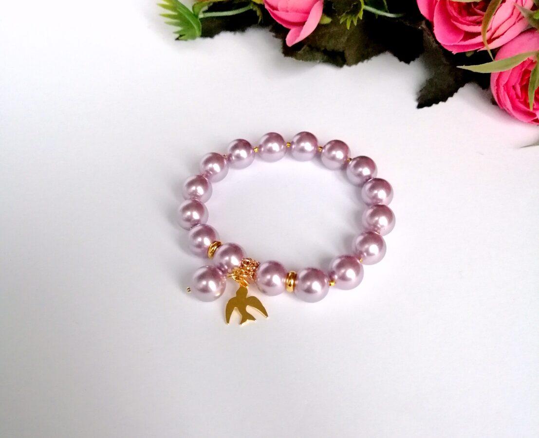 Pērļu aproce - maigi violeta