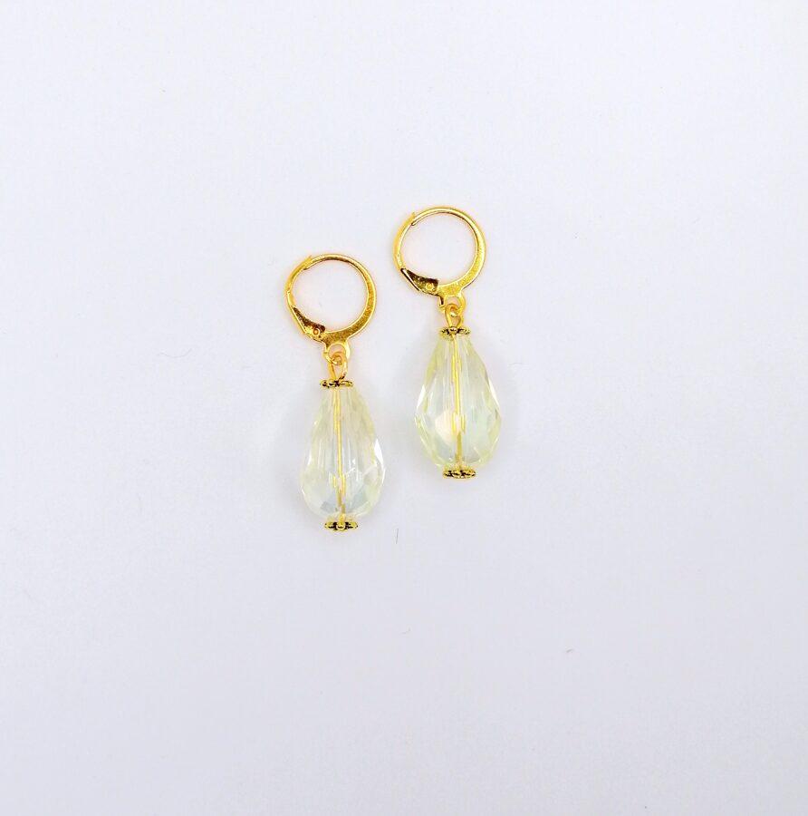 Kristāla lāses auskari  - balti zeltīti dizains 2