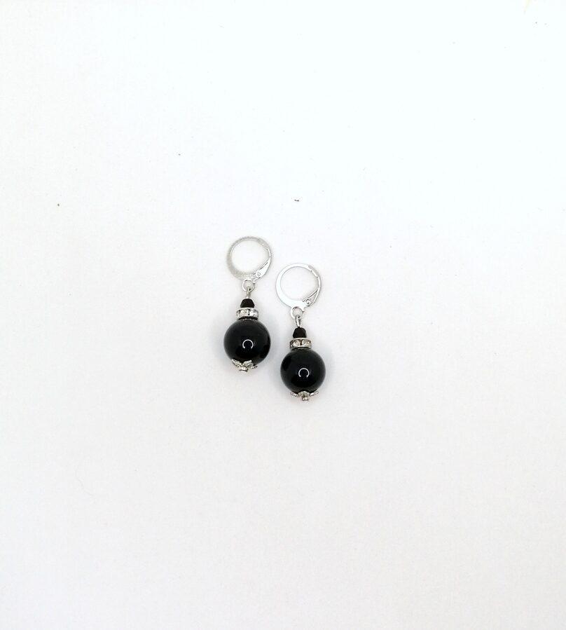 Melnā obsidiāna auskari